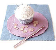 Cupcake pin cushion.