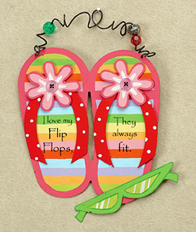 Colorful Flip Flop Wall Art With Hanger