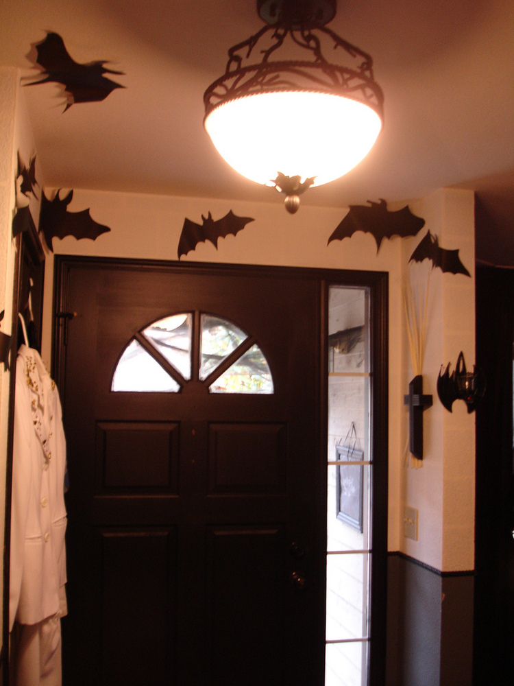 Halloween Bats And Spider Webs Doorway By Merelymel13.