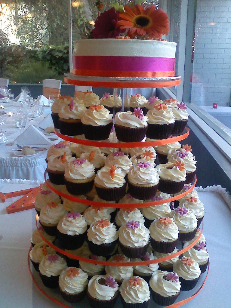 spring wedding cupcake tower cake by american candy stand