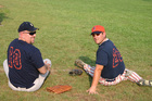 Jim and the pastor's son-in-law Steve - they each coach a BCC men's softball team.