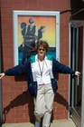 Lynnette holding the doors open for visitors at BCC
