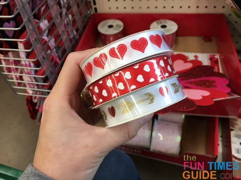 I chose a few different types of Valentine ribbon from the dollar store - to tie the cellophane bags closed.