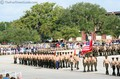 Marines marching in the boot camp parade march on graduation day.