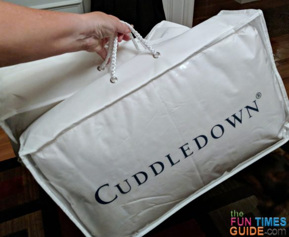 This is the Cuddledown pillow packaging -- what it looks like when delivered to your home.