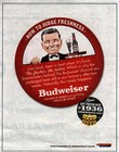 Budweiser print ad promoting classic retro beer cans.