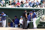 Chicago Cubs team coaches at a Spring Training game in Arizona.