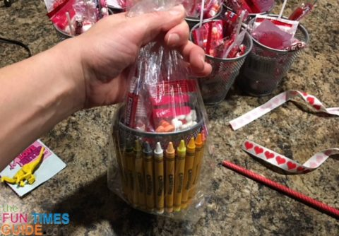 Example of a clear cellophane bag around one of the teacher gift baskets.