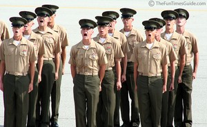 My nephew's platoon at the end of the graduation ceremony... yelling 'Ooh rah!'... all 566 of them... at once!