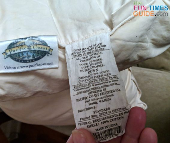 A closeup of the bedding tag on our well-used Pacific Coast pillows that are now 10 years old!