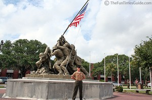 Benjamin standing in front of the famous Iwo Jima monument at Parris Island... moments after graduating from Marine Boot Camp.